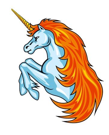 Magic fantasy unicorn horse in cartoon style for design Vector