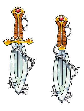 razor blade: Vintage sharp dagger with barbed wire for tattoo design