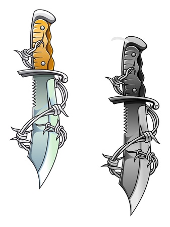 barb: Vintage sharp dagger with barbed wire for tattoo design