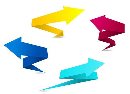 Arrow banners in origami style for web design Vector