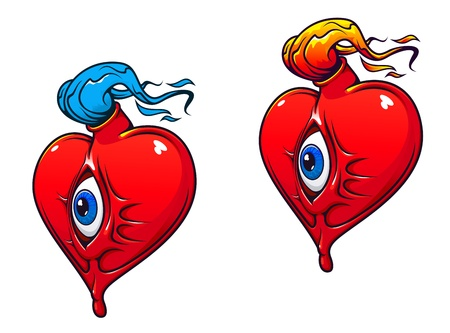 Cartoon heart with eye and fire for tattoo design Stock Vector - 11275029