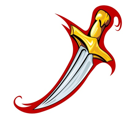 dagger tattoo: Medieval dagger in cartoon style for tattoo design
