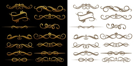 flourish: Gold and brown vintage elements set for ornate and decoration Illustration