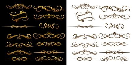Oro y marrón de la vendimia elementos establecidos para ornamentados y decoración