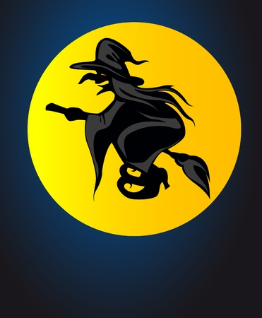 Flying witch on mon light for halloween or mystery design Vector