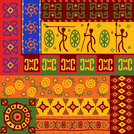 folk art: Abstract african ethnic patterns and ornaments for design