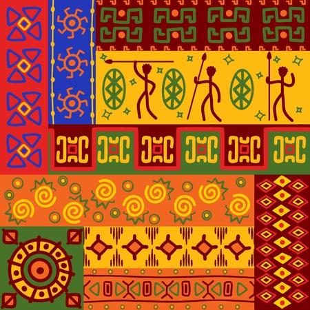etnia: Resumen patrones étnicos africanos y adornos para el diseño Vectores