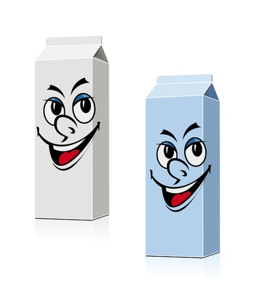 pasteurized: Smiling milk and juice containers in cartoon style for food design Illustration
