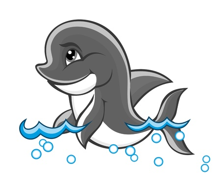Beautiful cute dolphin baby in water for nature or children book design Vector