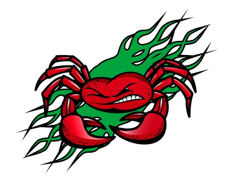 Angrycrab with claws on green flames for tattoo design Vector