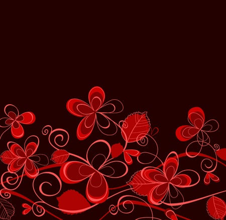 Red and purple floral background for invitation card design Vector