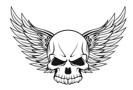 skull: Cr�ne humain avec des ailes pour la conception de tatouage Illustration