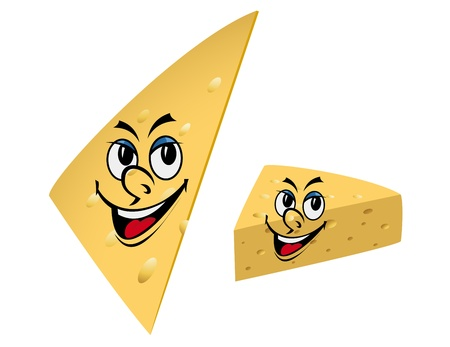 Slices of cheese with smile isolated on the white background Vector