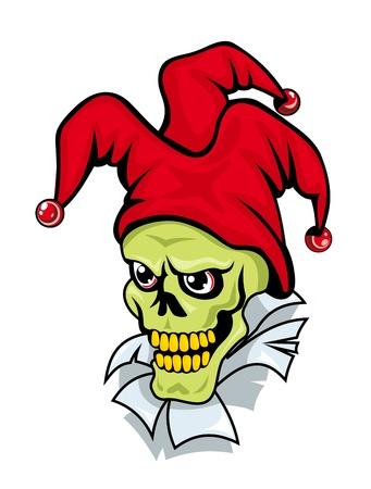 gambler: Joker skull on torned paper for tattoo or another design