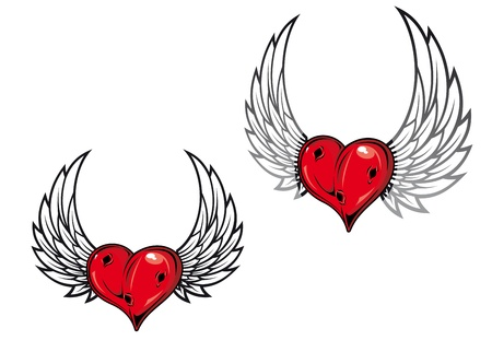 Damaged retro heart with wings for tattoo or t-shirt design Illustration