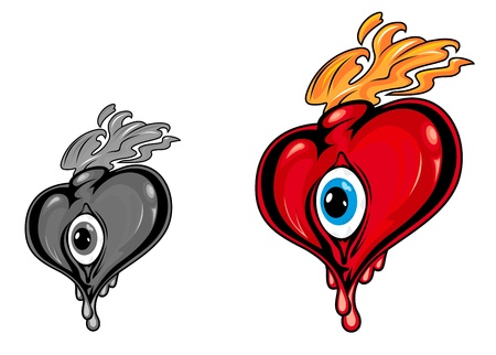 Retro heart with eye and fire flames for tattoo design Vector