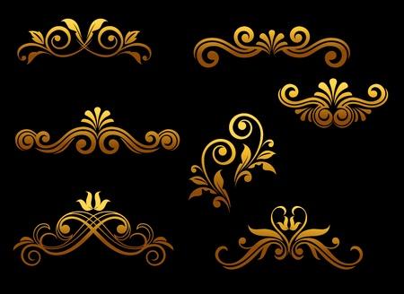 Golden vintage floral elements set for ornate Stock Vector - 11497590