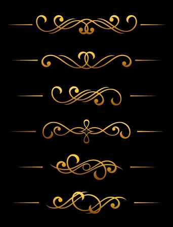 Golden vintage divider and border elements set for ornate Vector