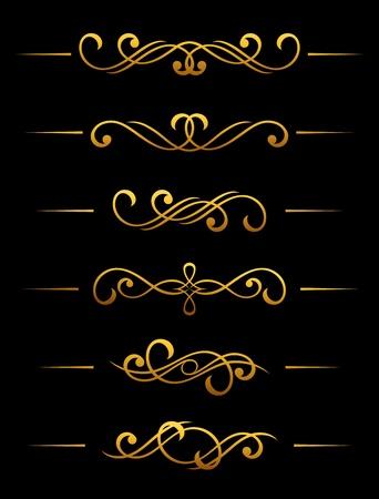 golden border: Golden vintage divider and border elements set for ornate Illustration