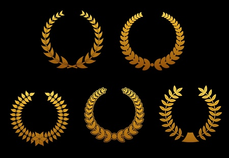 Set of golden laurel wreaths for sports badges Vector