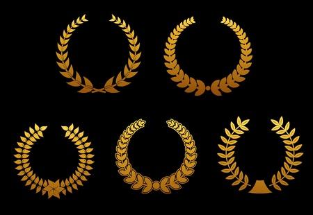 Set of golden laurel wreaths for sports badges Vector