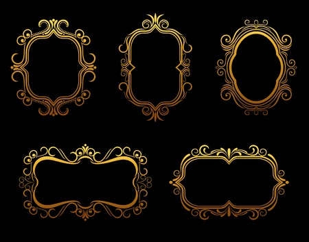 golden frames: Set of antique golden frames for decoration