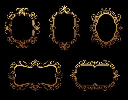 cartouche: Set of antique golden frames for decoration
