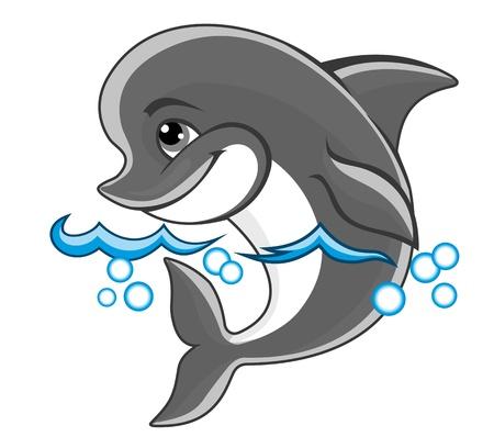 animal nose: Delfines hermosos alegre en el agua para el dise�o de un libro para ni�os Vectores