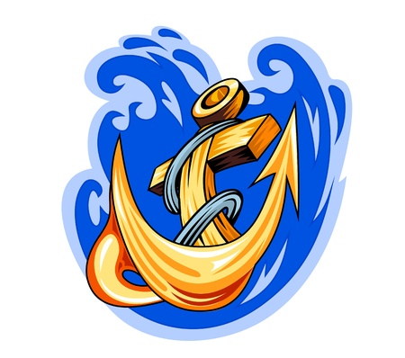 navy ship: Dibujos animados cl�sicos de anclaje en el agua de mar para el dise�o del tatuaje