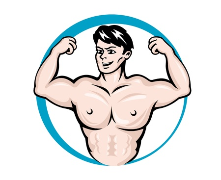 arm muscles: Bodybuilder man with muscles for sports and fitness design Illustration