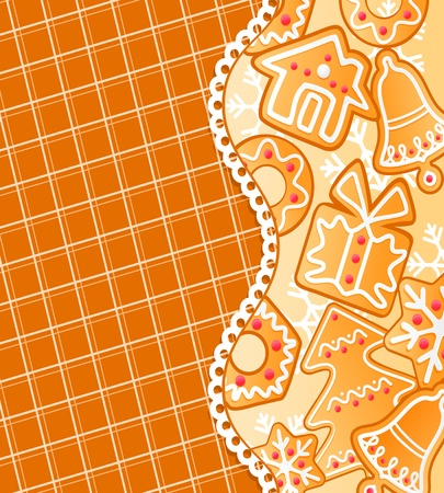 Gingerbread colorful background for christmas or new year holiday design Vector