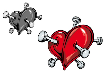 Red heart with nails for love tattoo Vector