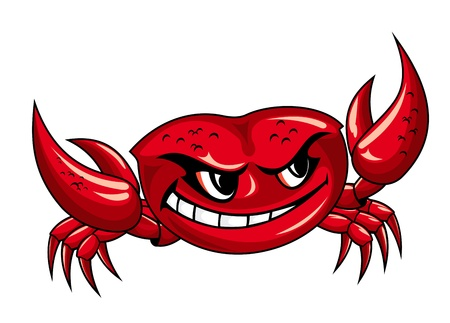 crab cartoon: Red crab with claws for mascot design