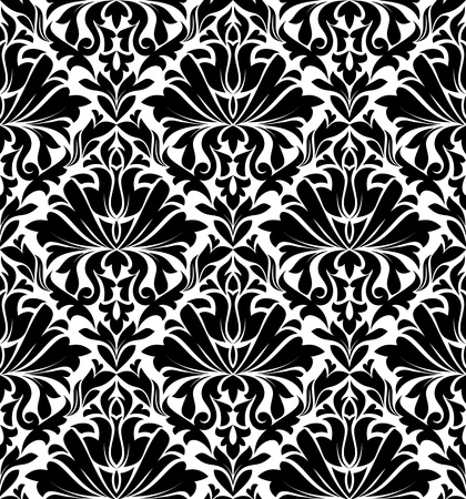 Vintage damask seamless pattern for background design in white and black color Vector