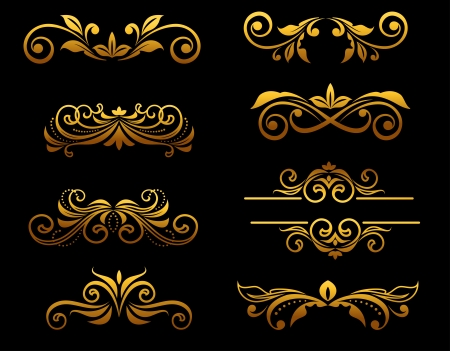 Golden vintage floral elements and borders set for ornate