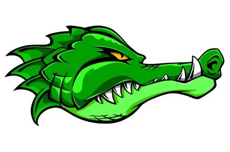 head for: Green alligator crocodile head for tattoo or mascot design