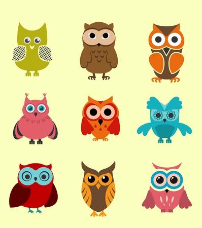 isolated owl: Conjunto de los b�hos doodle de decoraci�n divertida