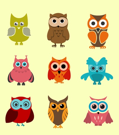 cartoon owl: Set of doodle owls for funny decoration Illustration