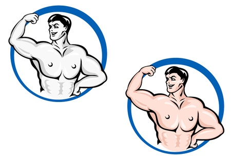 Powerful bodybuilder with muscles for sports design Vector
