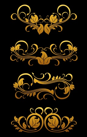 Golden vintage floral elements set for ornate Stock Vector - 11497622