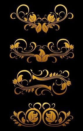 Golden vintage floral elements set for ornate Stock Vector - 11497622