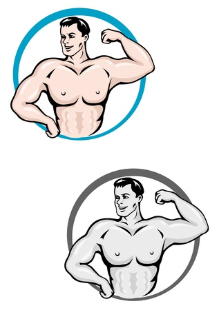perfect fit: Strong and powerful bodybuilder with muscles for sports mascot Illustration