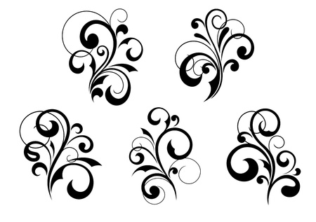 Set of vintage floral elements and patterns Vector