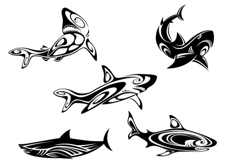 tough: Set of shark tattoos in tribal style isolated on white background