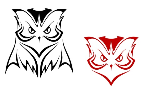 Owl mascot in two variations for tattoo or emblem design Illustration