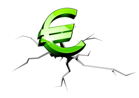 crunch: Euro symbol down for crisis or recession concept