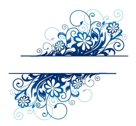 Azul bordes florales con flores y flores