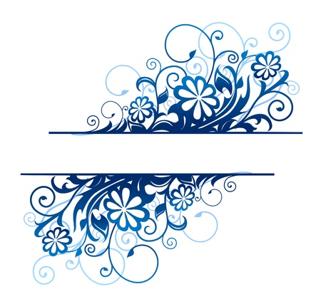 heading: Blue floral borders with flowers and blossoms Illustration