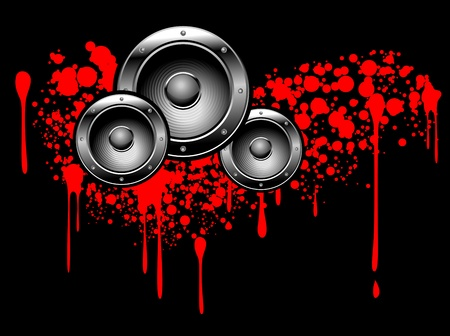 urban grunge: Abstract musical graffiti with speakers and blood drops