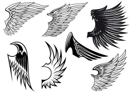 wings icon: Set di ali di uccello per la progettazione araldica isolato su sfondo bianco